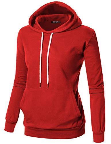 (GIVON Womens Comfortable Long Sleeve Lightweight Hoodie with Kanga Pocket/DCF019-RED-2XL)