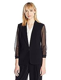 Nine West Women\'s Stretch Crepe Jacket W/ Mesh Sleeves, Black, 10