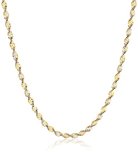 Chain Two Tone Necklace (Sterling Silver 18k Gold Two Tone 2.3mm Twisted Butterfly Chain Necklace, 18