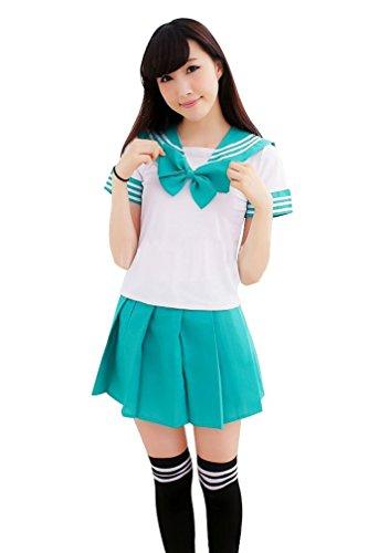 Ninimour- Japan School Uniform Dress Cosplay Costume Anime Girl Lady Lolita (XL, (Green School Girl Costume)
