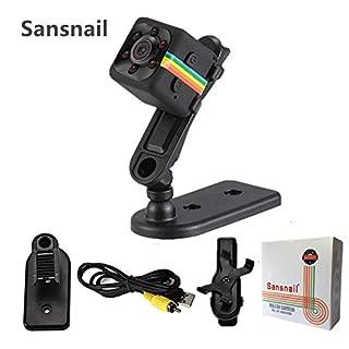 Webcam Mini Camera SQ11 Sansnail HD Camcorder SQ8 SQ9 Upgrade Night Vision Mini Cam 1080P Sports Mini DV Voice Video Recorder(Black)