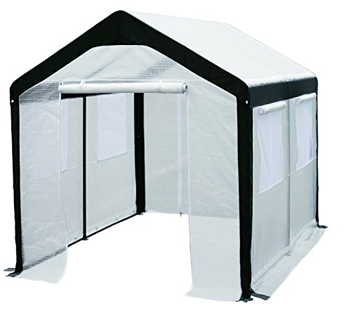 Greenhouse-Spring Gardener Peak Roof Walk In Portable Garden Hot House Fully Enclosed - Screend Windows for Ventilation, Zippered Door (8'W x 10'L x 8'H) Mid Size Greenhouse for Backyards or Large Decks and Patios by Spring Gardener