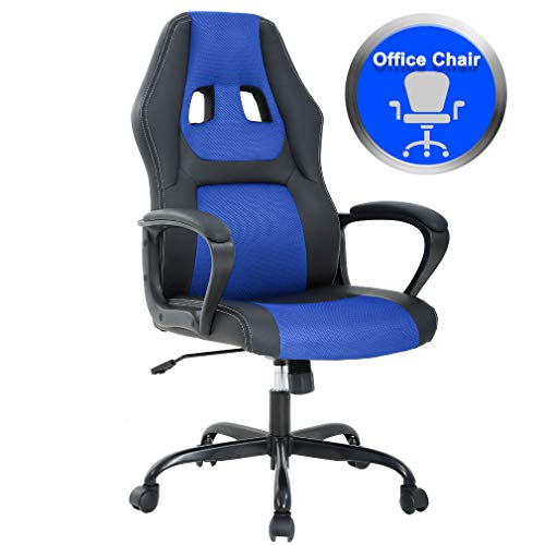 Office Chair Desk Ergonomic Chair PC Gaming Chair Rolling PU Leather Computer Chair Swivel Chair Executive Lumbar Support for Women Men,Blue