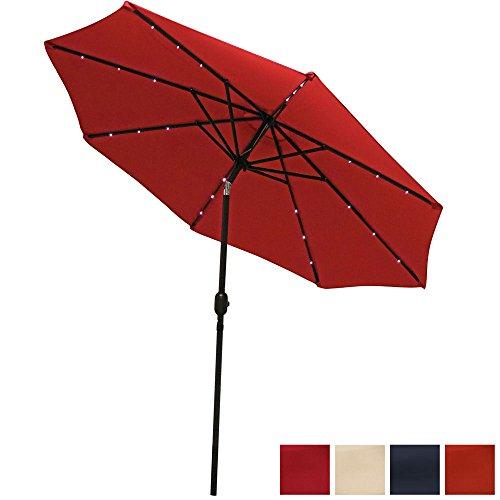 Sunnydaze 9 Foot Solar Powered LED Aluminum Patio Umbrella with Tilt & Crank, Red