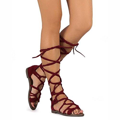 Breckelles Dg23 Kvinner Suede Knyttede Peep Toe Snøring Vikle Gladiator Flat Sandal Vin