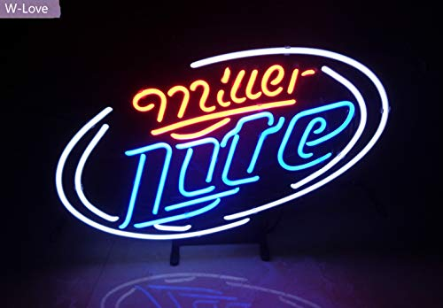 Mirsne neon Signs, Glass Tube neon Lights,Beer Wine neon Signs bar, The Best neon Sign Custom Supplied for a Wide Range of Personal uses. (Miller Lite)