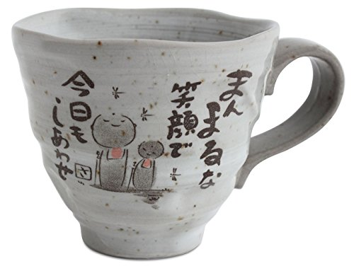 Mino ware Japanese Pottery Mug Cup Jizo Stone Statues Gray Sanae made in Japan (Japan Import) KSM001