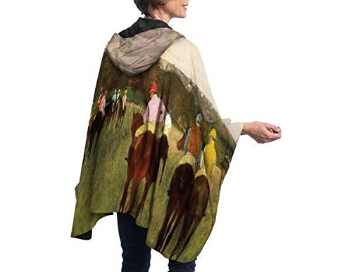 RainCaper Rain Poncho for Women - Reversible Waterproof Hooded Cape in Gorgeous Ultrasoft Colors (Fine Art- Degas Racehorses at Longchamp)