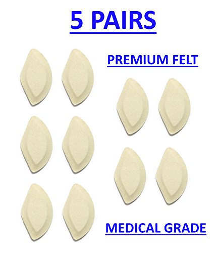 Premium Felt Foot Arch Support Pads - Shoe Inserts - 5 Pairs - 1/4