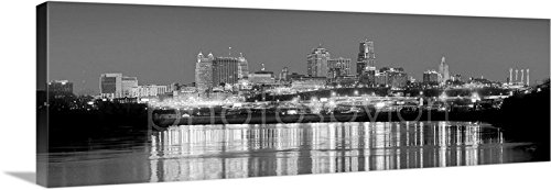 - CANVAS Kansas City Skyline NIGHT 16 inches x 46 inches B&W Black and White City Downtown Photographic Panorama Print Photo Picture