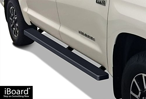 APS iBoard (Black Powder Coated 4 inches) Running Boards | Nerf Bars | Side Steps | Step Rails for 2007-2018 Toyota Tundra CrewMax Pickup 4-Door -
