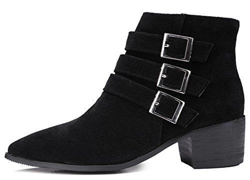 Pointy Zip Motor Ankle Casual Block Mid Side Booties Up Boots Heels IDIFU Black Buckles Womens AcP7T7v8