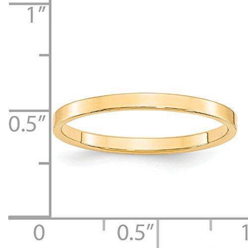 14k Yellow Gold 2mm Flat Band by Jewelry Pot (Image #4)