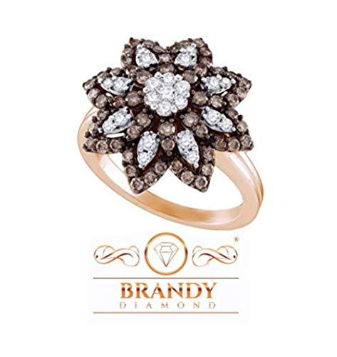 (Brandy Diamond 10K Rose Gold Chocolate Brown Flower Bloom Ring 1.05 Ctw.)
