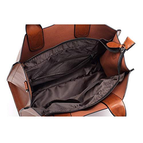 for 32x12x25cm Black Pink Bag Trunk Shoulder Tote Leather Oil Women Handbags qEgxwUE4f