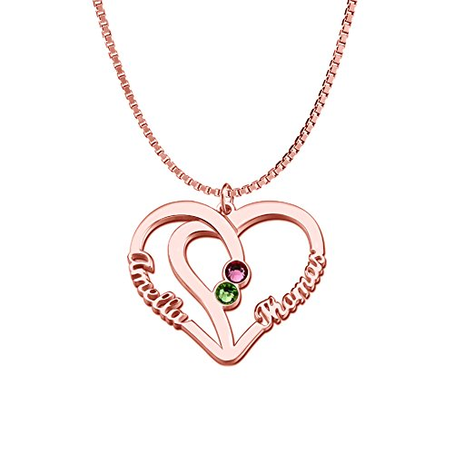 Sterling Silver Personalized Infinity Name Necklace with Birthstone Heart Custom Made with 2 Names