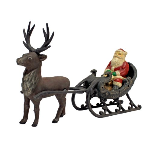 Christmas Decorations - Santa Claus on Sleigh with Christmas Reindeer Die Cast Iron Holiday Decor Statue ()