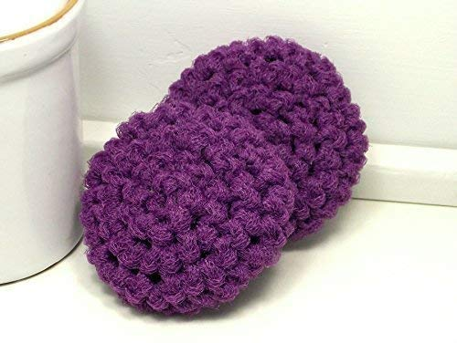 (Handmade Purple Reusable Dish Scrubbers Set of 2)