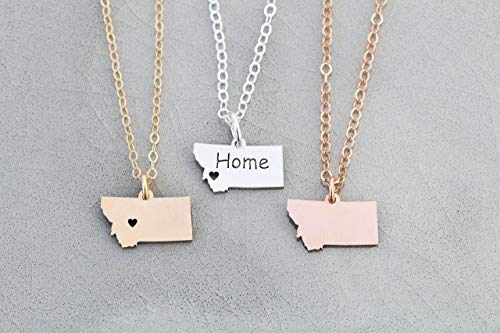 Montana Pendant - IBD - Home State Pride - Personalize with Name or Coordinates – Choose Chain Length – Pendant Size Options - Ships in 1 Business Day - 935 Sterling Silver 14K Rose Gold Filled Charm