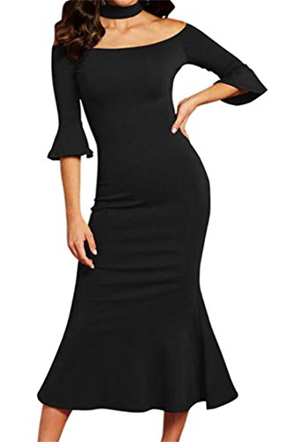 Sirène Licol Col Rond Slim Femme Domple Robe Midi Cocktail Moulante Noir