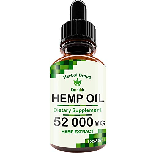 Hemp Oil Extract 52000 mg, All-Natural Drops for Pain, Stress, Anxiety Relief, Deep Restful -
