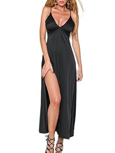 Simplee Apparel Women's Sleeveless V Neck Evening Party Satin Slip Dress Pajama