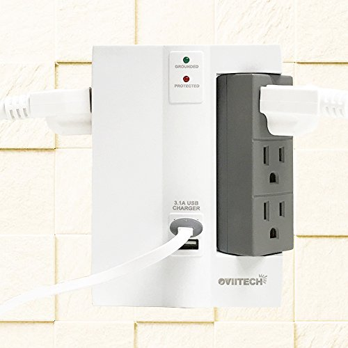 6 Outlet Swivel Wall Tap Surge Protector Power Strip with Dual USB Charging Ports (3.1A shared), OviiTech Wall Mount Socket Adapter,1500 Joules, Home/Office, ETL Certified by OviiTech (Image #4)