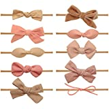 Baby Girl Headbands and bows - Nylon Headband Fits newborn toddler infant girls (Emma-Collection)