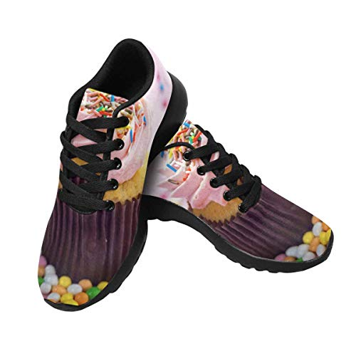 InterestPrint Womens Running Sneakers Lightweight Breathable Athletic Tennis Shoes US11 Pink Cupcake ()
