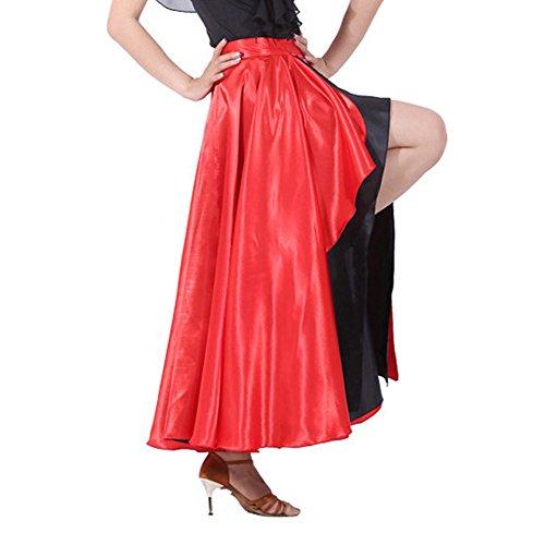 Women's Spanish Flamenco Skirt Red Belly Dance Costume Fancy Dress (L/Suit Height 65-67