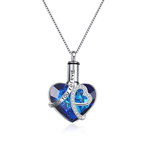 AOBOCO S925 Sterling Silver Heart URN Necklace Engraved I Love You Forever Pendant,Cremation Keepsake Necklace for Ashes with Blue Swarovski Crystal,Fine Memorial Jewelry
