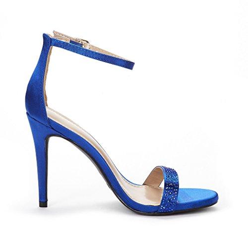 Shine PAIRS DREAM Stiletto Karrie Women's Pump Sandals High royal Blue Heel pdd8Ow