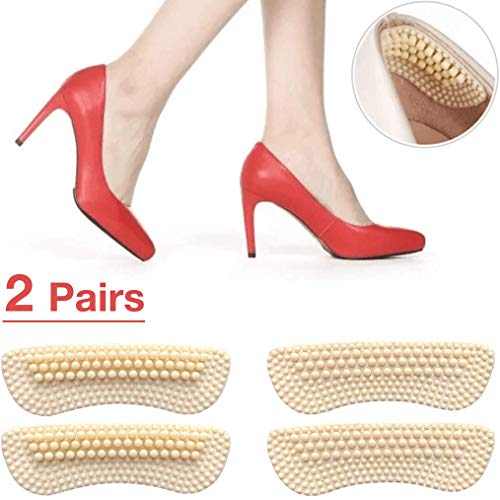 Heel Grips High Heel Inserts for Women, Make Shoe Fitter & Stop Heel Slipping Out (2 Pairs, 2mm&5mm Thickness respectively) High Heel Pads,Heel Cushion Inserts,Heel Snug Liner (Beige) ()