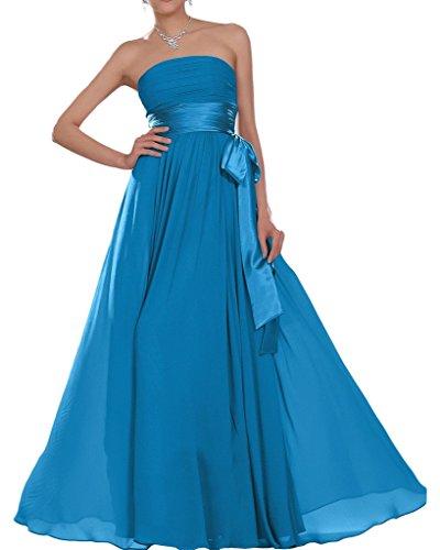 Chiffon Partykleider Missdressy Abendkleider Traegerlos Hochzeitsgast Abiball Abschlussball Satin Damen Lang Elegant Blau Band Faltenwurf Kleider Eq4RqC1x