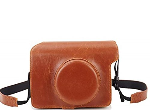 Phetium Protective Case Compatible Fujifilm Instax Wide 300 Instant Film Camera, Soft PU Leather Bag Cover Removable/Adjustable Strap (Brown)