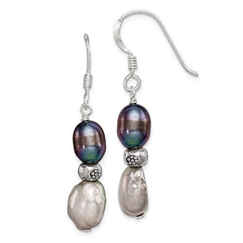 - 925 Sterling Silver Dark Grey Freshwater Cultured Pearl Drop Dangle Chandelier Earrings Fine Jewelry Gifts For Women For Her