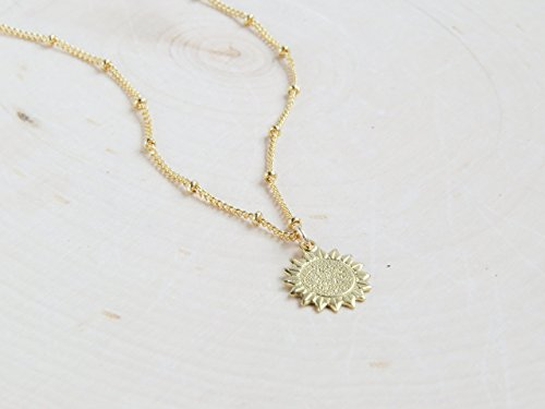 Sunflower Clasp - Sunflower Floral Charm Pendant Necklace Gift for Women Gold-Plated - 18