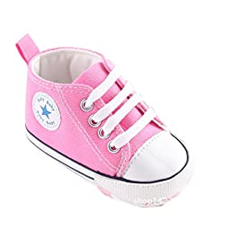 Mjun® Baby Boys Girls Toddlers Canvas Sneakers Lace Up Anti-slip Outdoor Shoes (12-18 months, pink)
