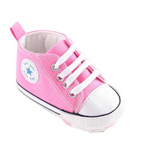 Mjun® Baby Boys Girls Toddlers Canvas Sneakers Lace Up Anti-slip Outdoor Shoes (6-12 months, pink)
