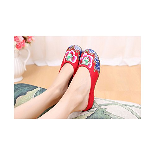 Chaussures Florales Chinoises Brodées Vintage Femme HUADUOYUNTUO Ballerines Mary Jane Ballerine Flat Ballet Cotton Loafer Rouge