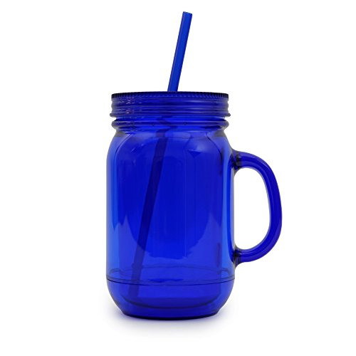 NuFazes 20 Oz Blue Mason Jar Doubled Wall Acrylic Cup with Straw - 2 Pack