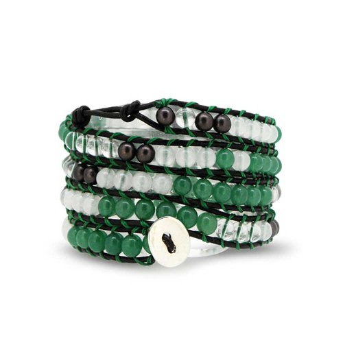 Bling Jewelry Green Simulated Jade Gemstone White Marble Bead Leather Wrap Bracelet 41in