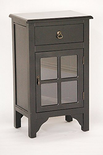 Heather Ann Creations Single Door/Drawer Wooden Cabinet with 4 Square Mirrored Inserts, 30