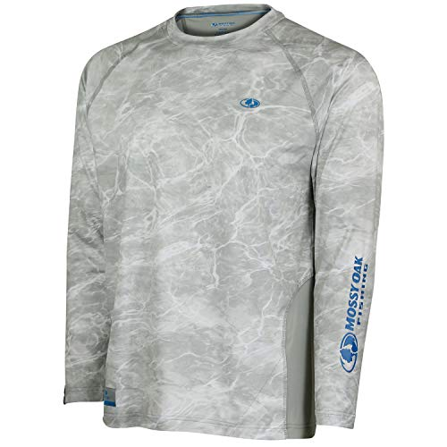 Mossy Oak Men's Long Sleeve Performance Tech Fishing Shirt, Bonefish, X-Large
