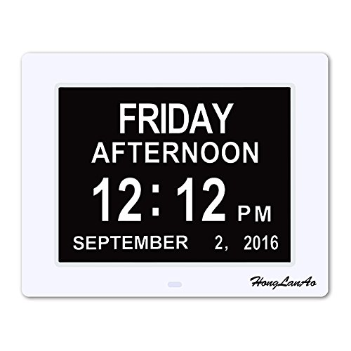 HongLanAo Digital Calendar Day Clock with Extra Large Non-Abbreviated Day and Month, 8-Inch