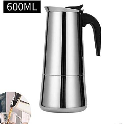 Cafetera italiana de acero inoxidable para 12 tazas (cilindro recto, 12 tazas, 600 ml): Amazon.es: Amazon.es