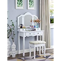 Roundhill Furniture Sanlo White Wooden Vanity, Make Up Table and Stool Set