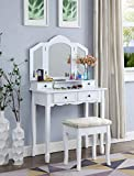 white makeup vanity with lights Roundhill Furniture Sanlo White Wooden Vanity, Make Up Table and Stool Set