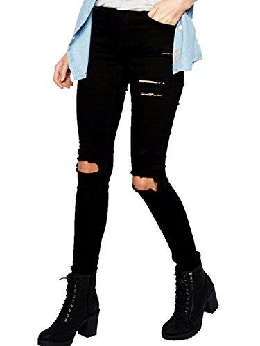Sheinside Women's Black Skinny Cut Out Pants