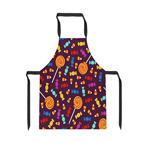 Pinbeam Apron Candy Halloween Small Sweets on Dark Holiday Trick with Adjustable Neck for Cooking Baking Garden